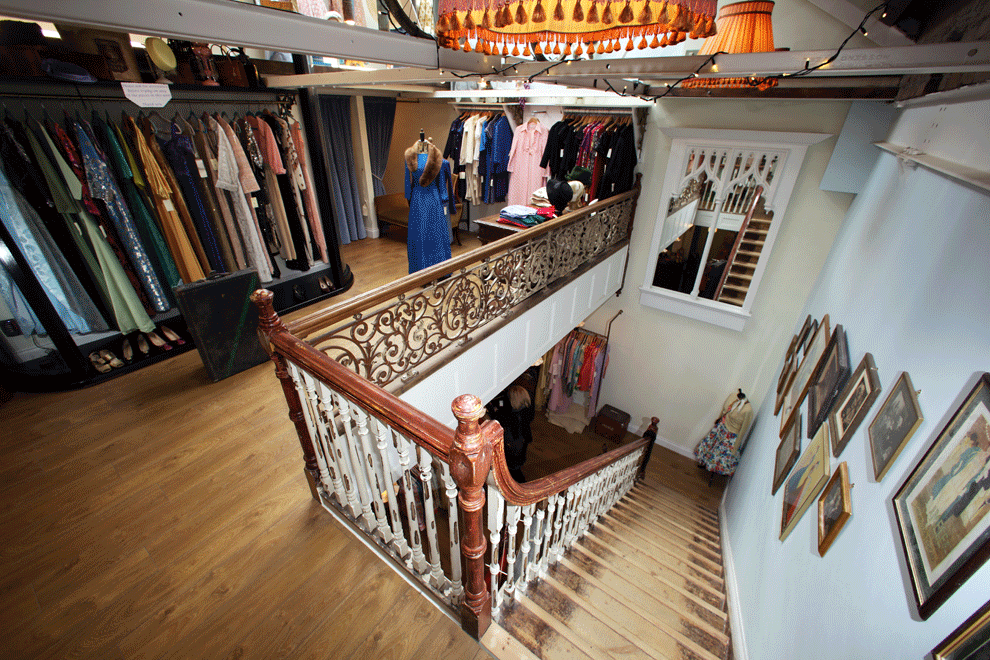 niall linehan construction shop fit out service reclaimed staircase in vintage clothing shop