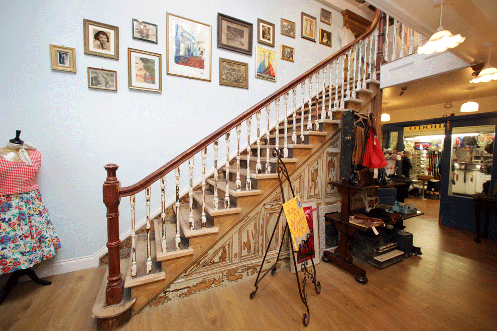 niall linehan construction reclaimed stairs in shop fitting miss daisy blue shop interior cork fit out