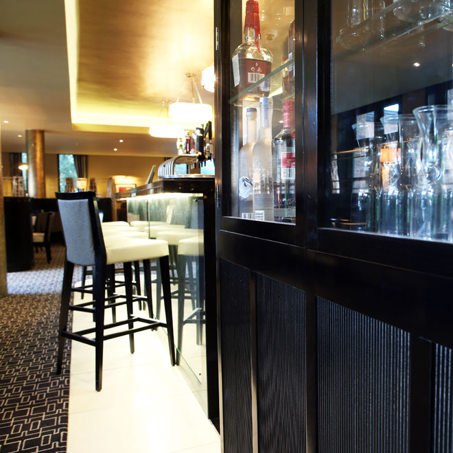 Contemporary decor in the refurbished Bellinis Bar by Niall Linehan Construction